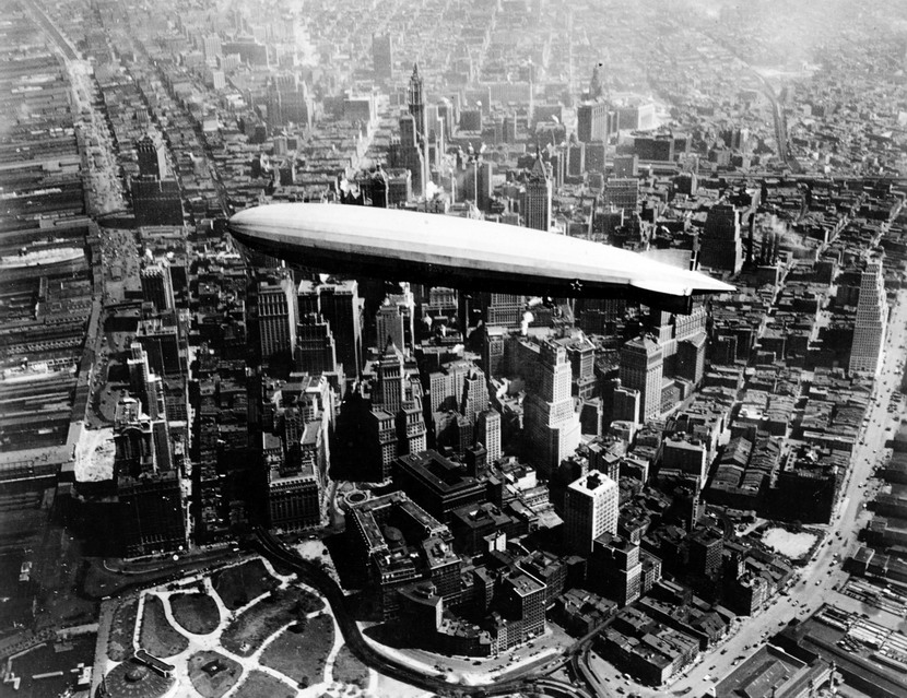 American airship over lower Manhattan, NYC,1930s