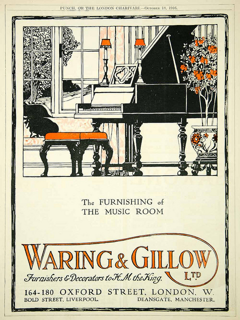 The furnishing of the music room,1916