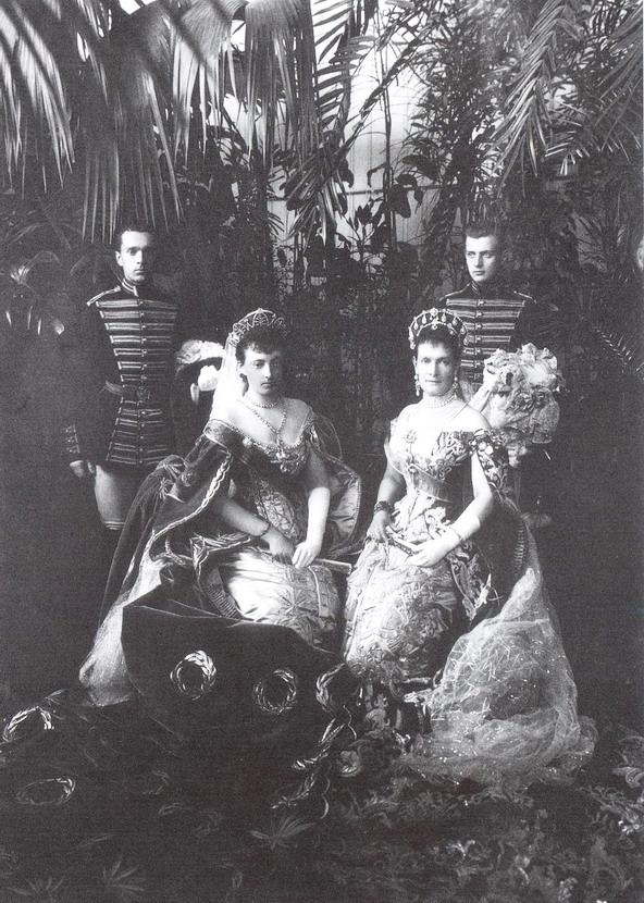 Russian Grand Duchesses dressed up for Nicholas II's coronation, Russia,1896