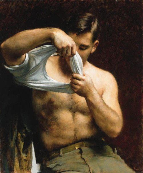Painting by American painter John Koch of a model putting his clothes on after asitting