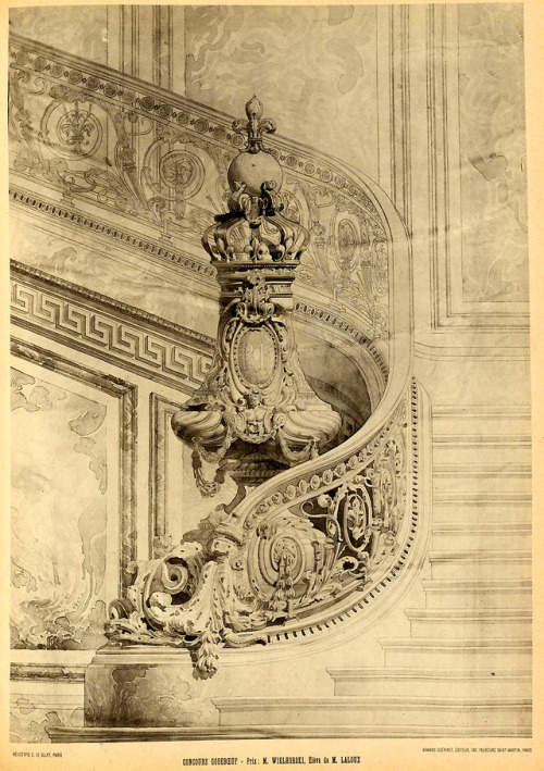 Staircase design with an ornate newel post