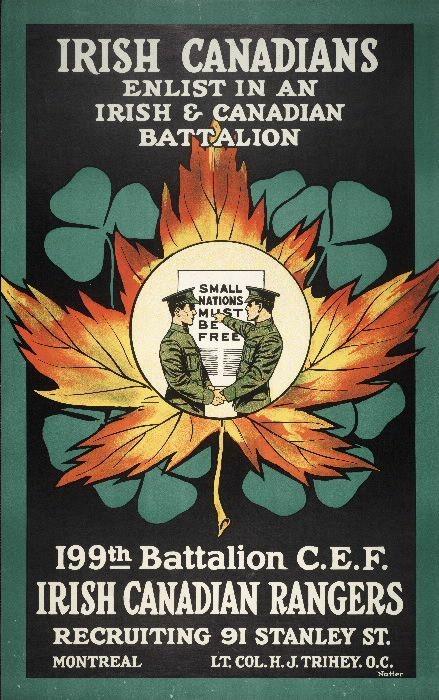 Irish-Canadian WWI Recruitment Poster,Montreal