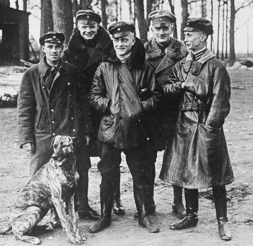 The infamous Red Baron, centre, German air ace, WWI