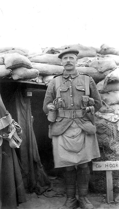 Scottish soldier, wearing a military issue canvas kilt, WWI