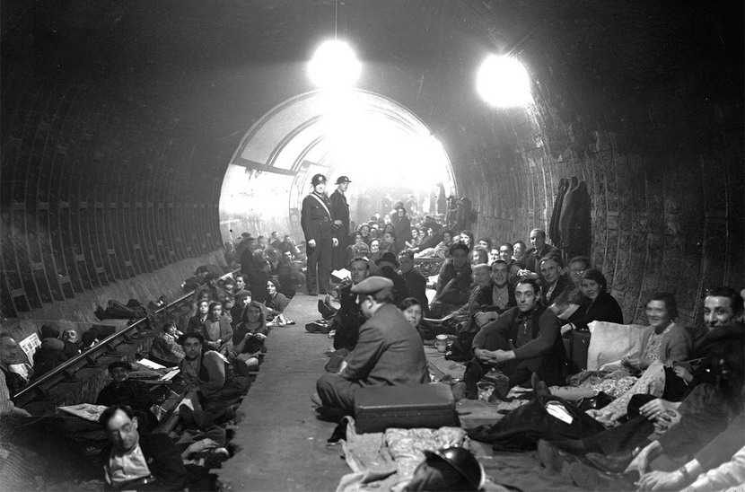 London residents in an air raid shelter during the Blitz, WWII