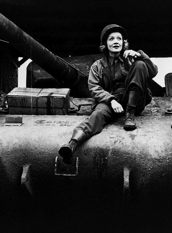 Marlene Dietrich on USO tour, WWII