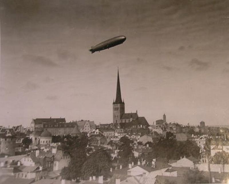 German airship/zeppelin over Tallinn, Estonia,1930