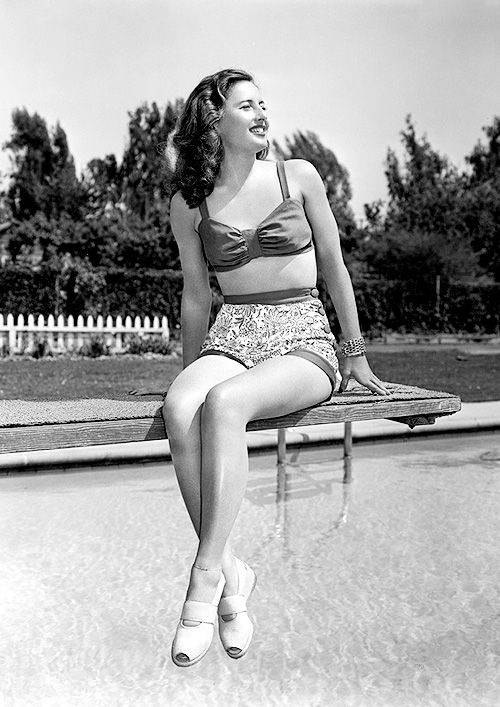 Barbara Stanwyck in a bathing suit, 1946