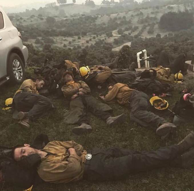 Forest fire fighters getting some rest, California,2018