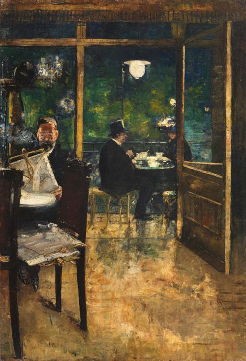 """Lesser Ury – """"Im Cafe Bauer, Berlin"""",1888"""