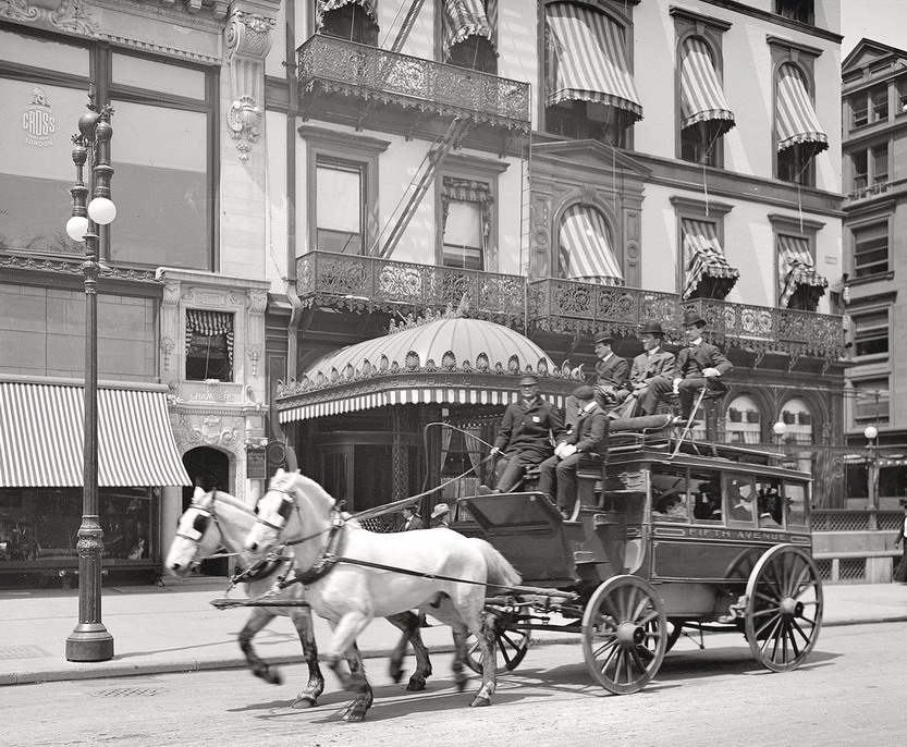 Horse drawn public bus, 5th Avenue route, NYC, 1900