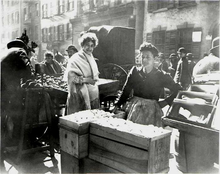 Produce market, Hester St., Lower East Side of Manhattan, NYC, circa 1900