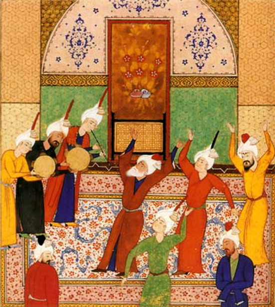 Dervishes dancing, Persia, 1400s