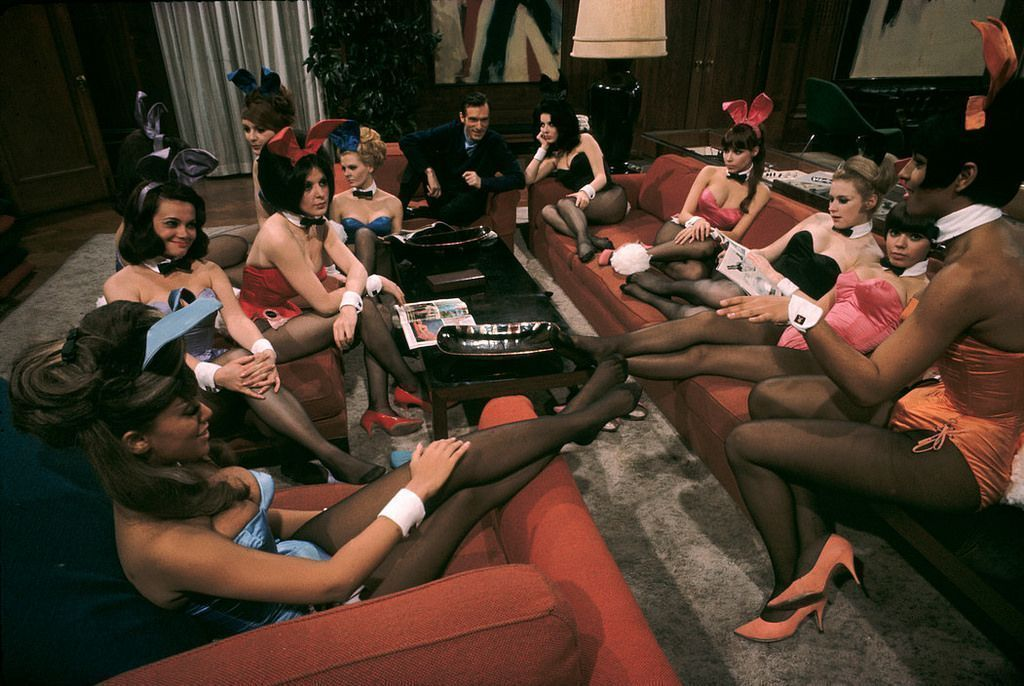 Hugh Hefner and Bunnies at the Playboy Club in Chicago,1960s