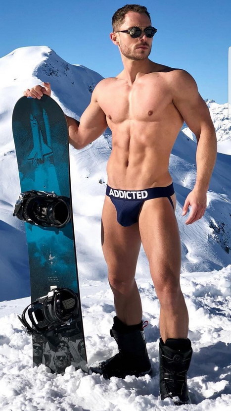Shirtless Snowboarder
