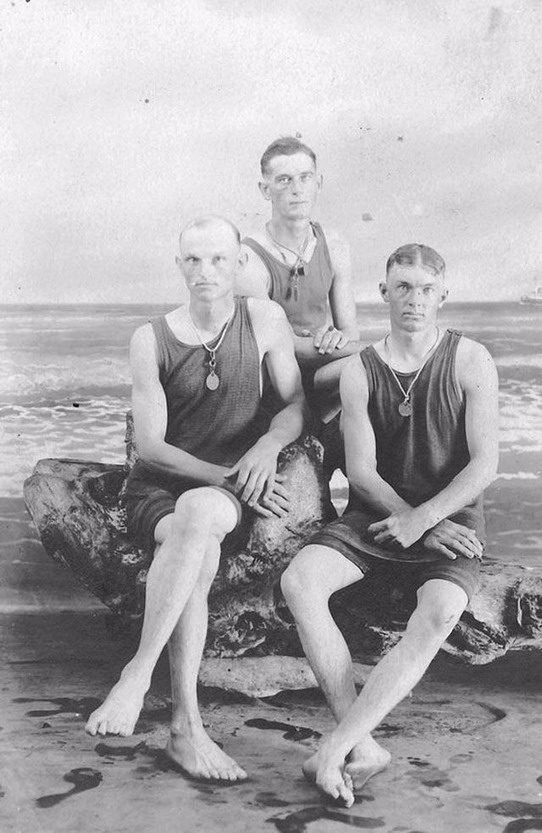 Three vintage swimmers, circa 1900