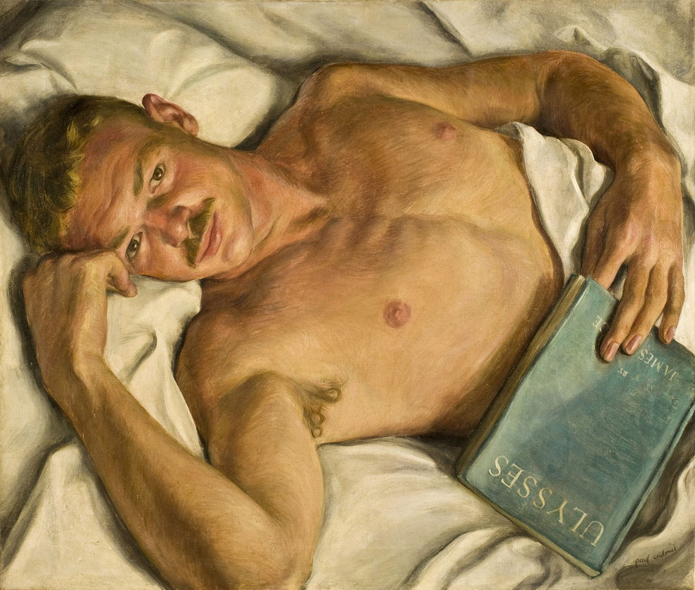 "Mustachioed man in bed reading James Joyce's ""Ulysses"" (painting by Paul Cadmus)"