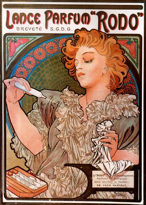 "Lance Parfum ""Rodo"", par Alphonse Mucha,1890s"