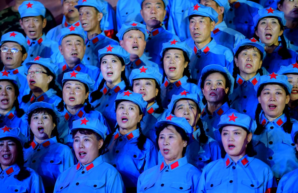 Chinese soldiers singing in unison