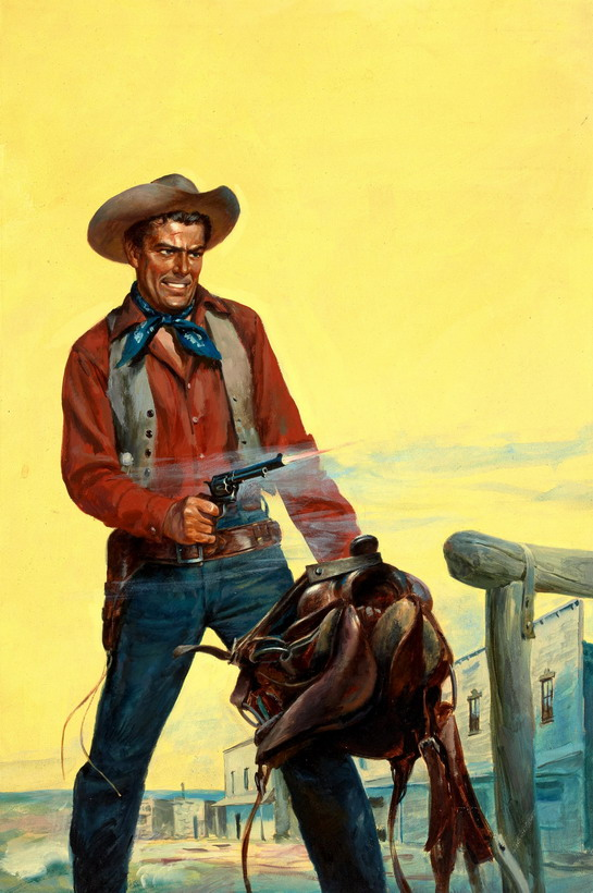 Cowboy pulp fiction illustration