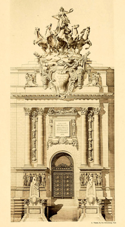 Design for an ornate doorway, architectural competition entry, France, 1800s