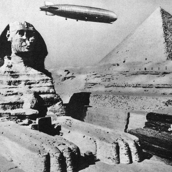 German zeppelin/airship flying over Egypt,1931