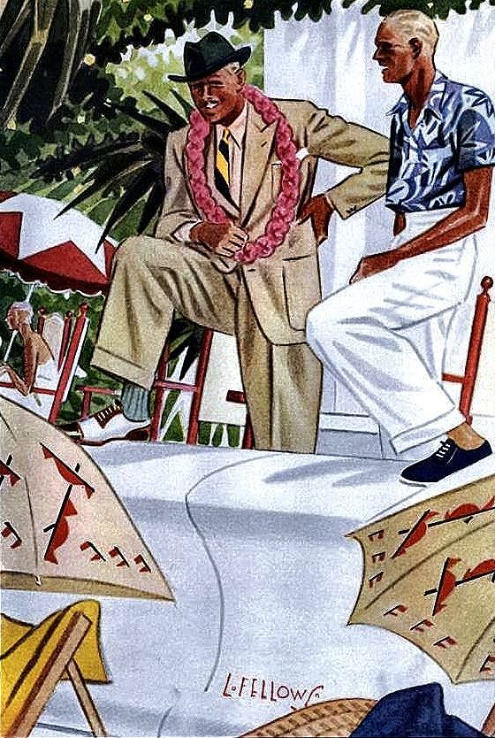 L. fellows illustration for Esquire magazine – men's summer/resort wear, 1930s