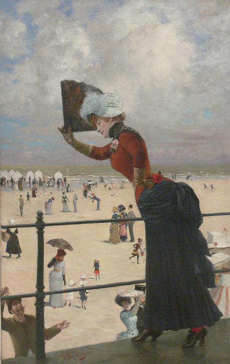 "Franz Skarbina, ""Dame in einim Seebad"",1883"