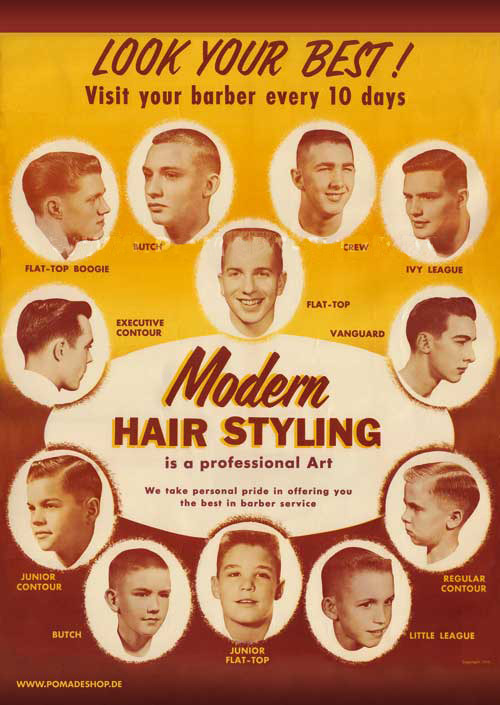 Modern Hair Styling – hair styles for young men, circa 1950