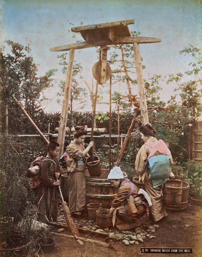 Japanese women getting water from a well