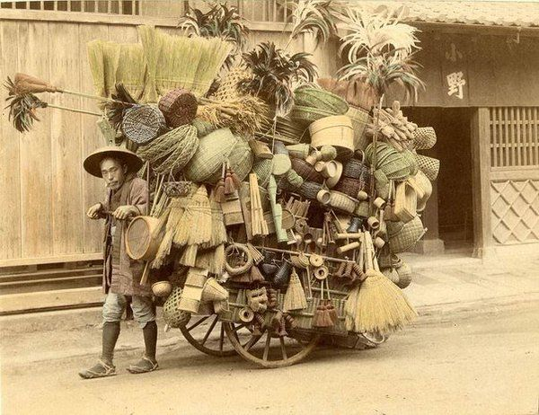 Japanese broom and basket salesman, 1800s