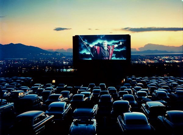 "Charlton Heston in ""The Ten Commandments"" on a drive-in movie theatre screen, Las Vegas, 1959"