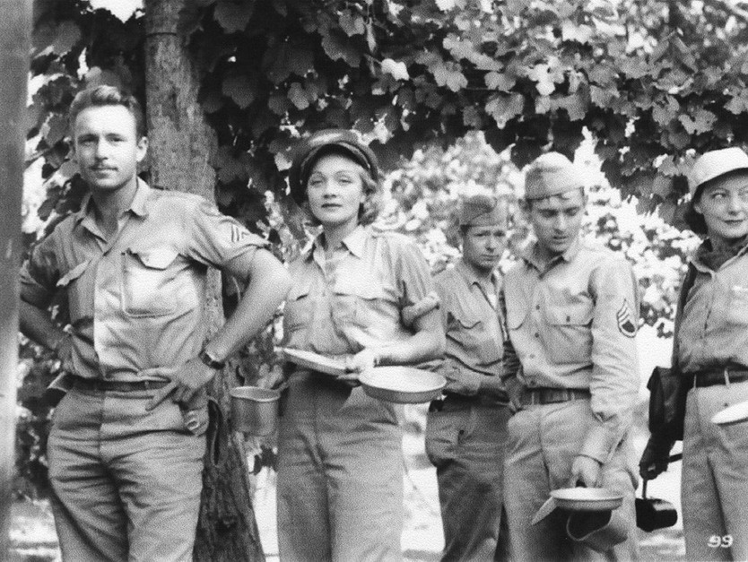 Marlene Dietrich on tour with US troops, WWII