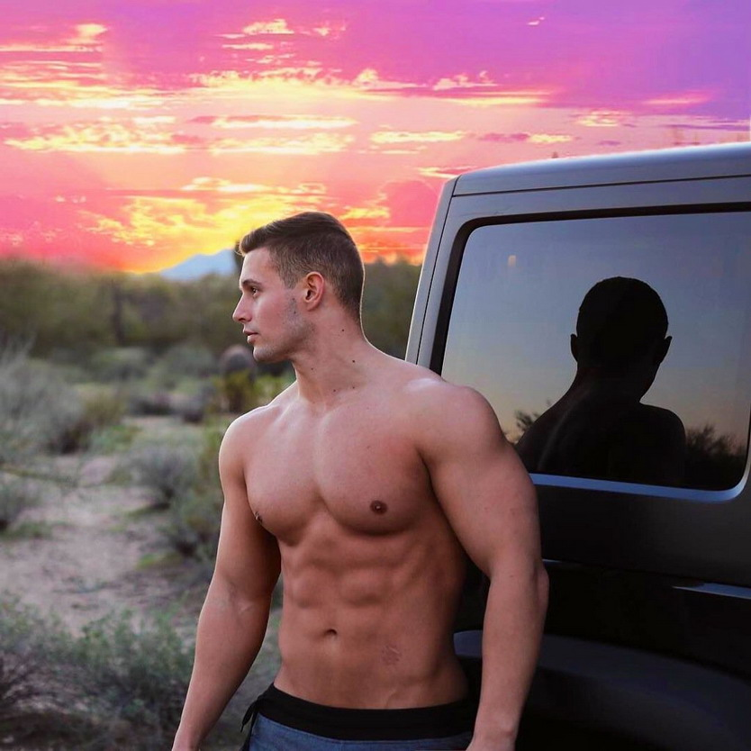 Shirtless guy in thedesert