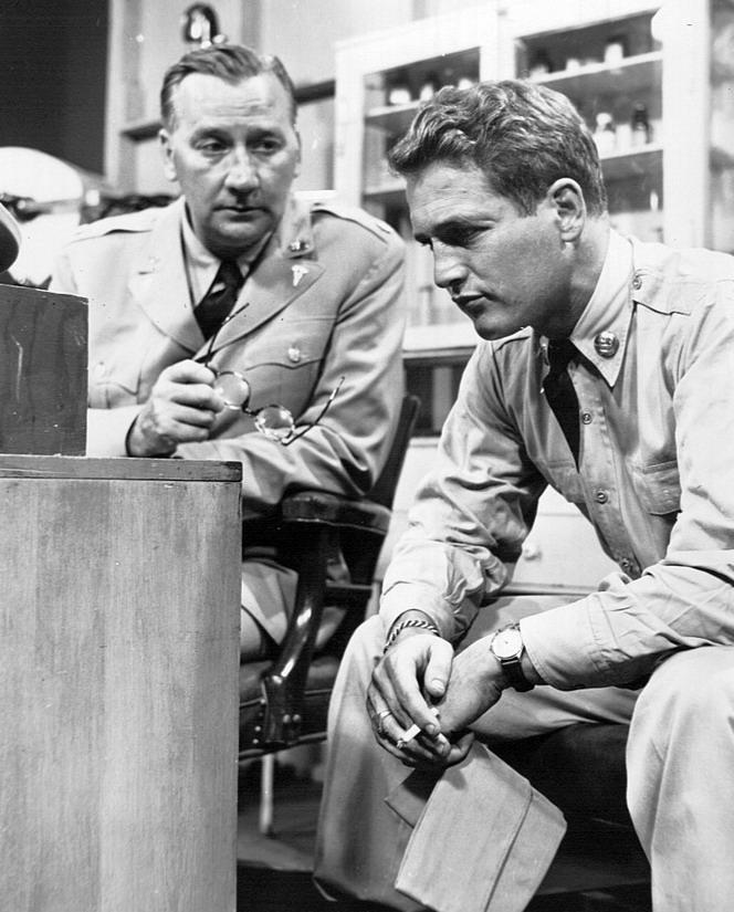Paul Newman in army uniform,1956