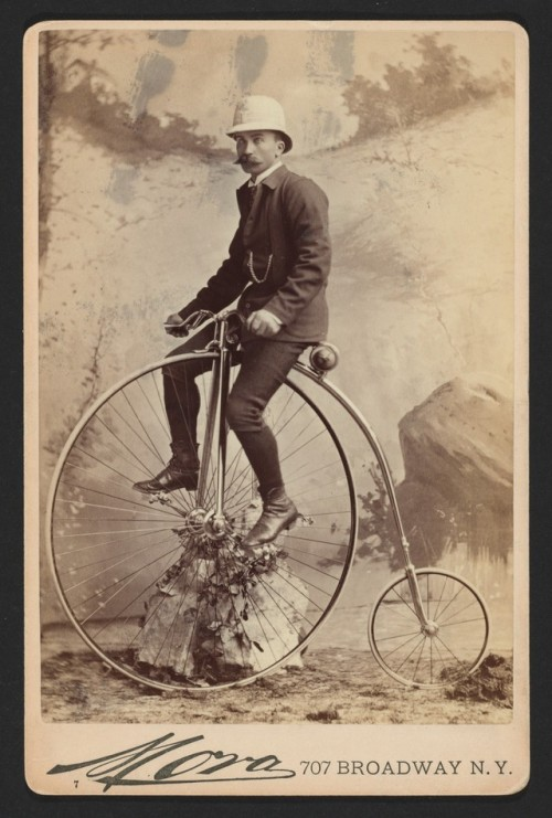 Stache and penny farthing,1800s