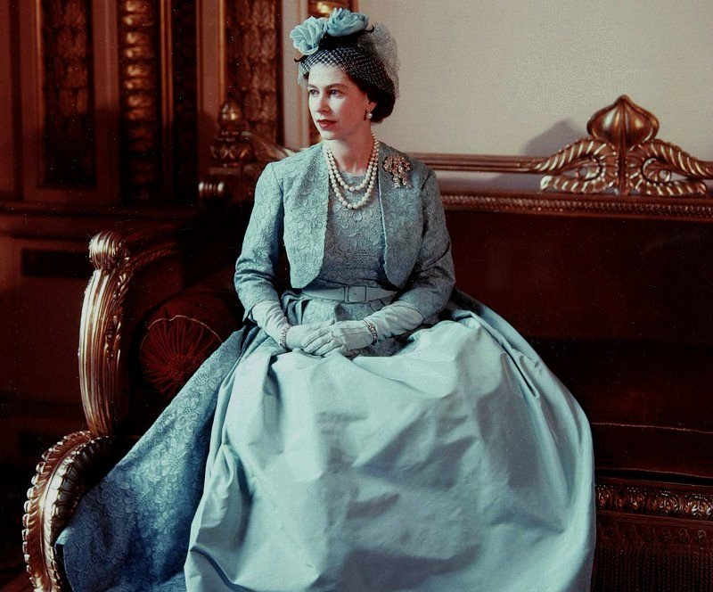 Queen Elizabeth II, dressed for the wedding of her sister, Princess Margaret