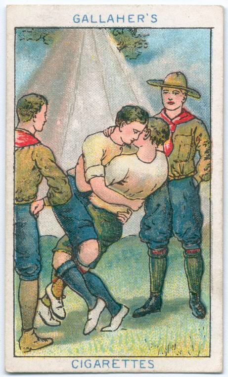 Boy scouts earning their huggingbadges