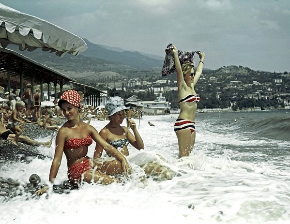 At the beach in Crimea, USSR, 1960s