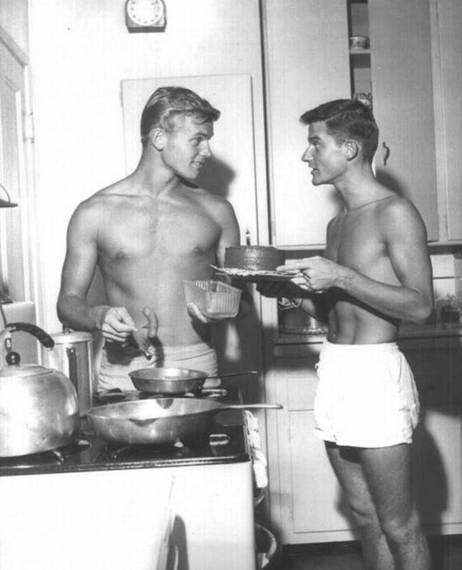 Tab Hunter (left) and alleged boyfriend Roddy McDowell (right), 1950s