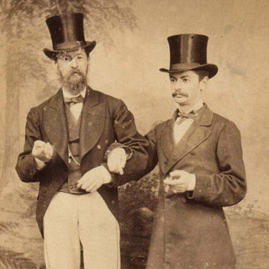 Men Together, wearing stove pipe hats,1800s