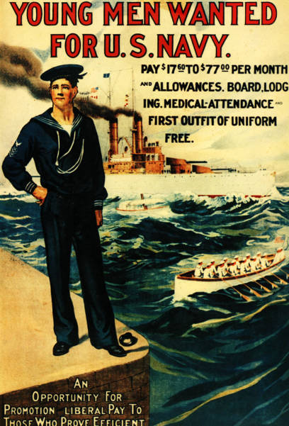 Young Men Wanted – US Navy recruitment poster,pre-WWI