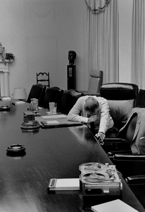 President Johnson overcome with grief after hearing on the phone from his son-in-law a first hand account of the horror of the Vietnam War he was responsible for, 1960s