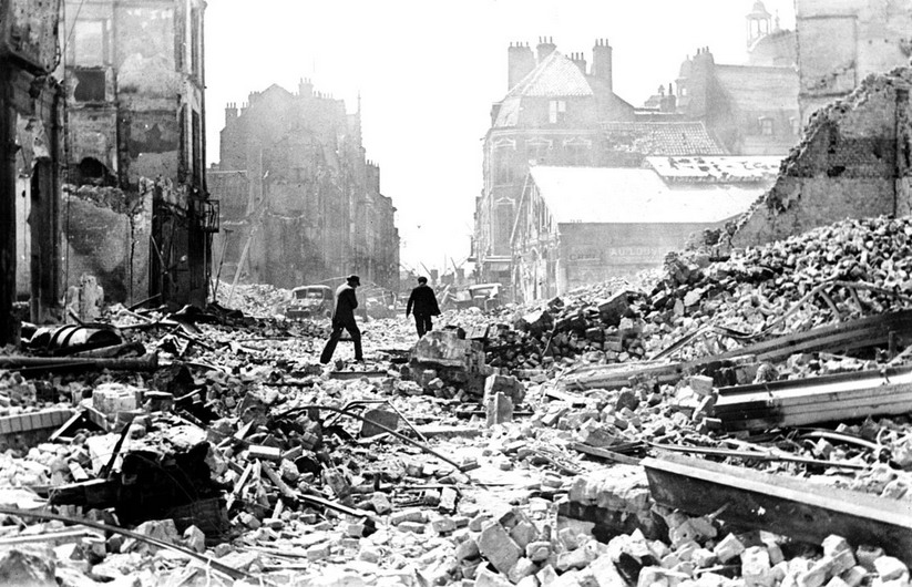 The destruction of Rotterdam, Netherlands, in WWII
