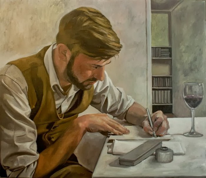 """Man Wrting a Letter"", painting by Roeland Kneepkens"