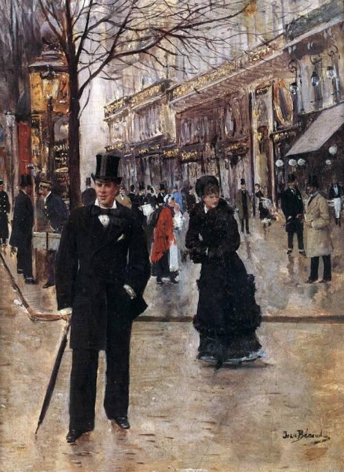 Paris street scene, painting by JeanBeraud