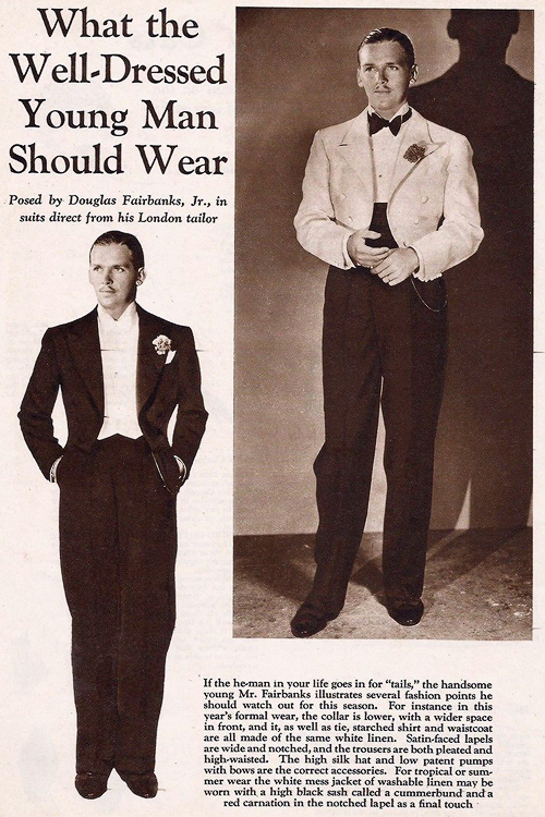 Douglas Fairbanks Jr. in suits direct from his London tailor, 1930s
