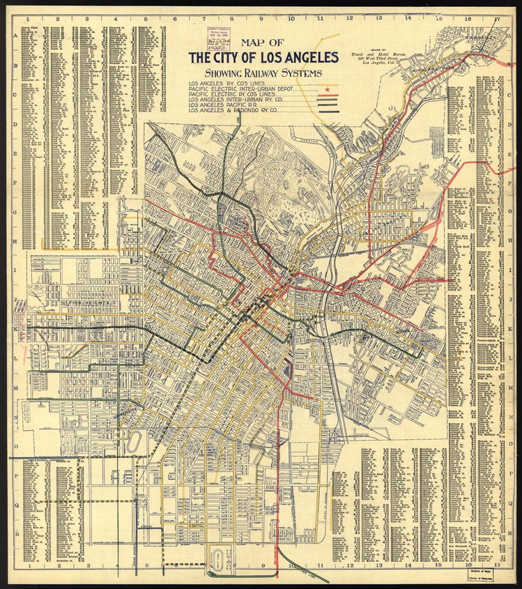 Map of railway (streetcar) services, Los Angeles, 1906