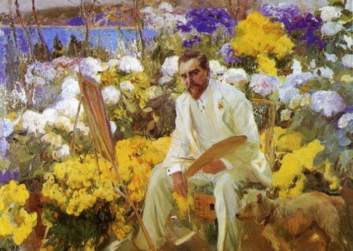 Louis Comfort Tiffany's portrait of Spanish painter Joaquin Sorolla in a garden,1911
