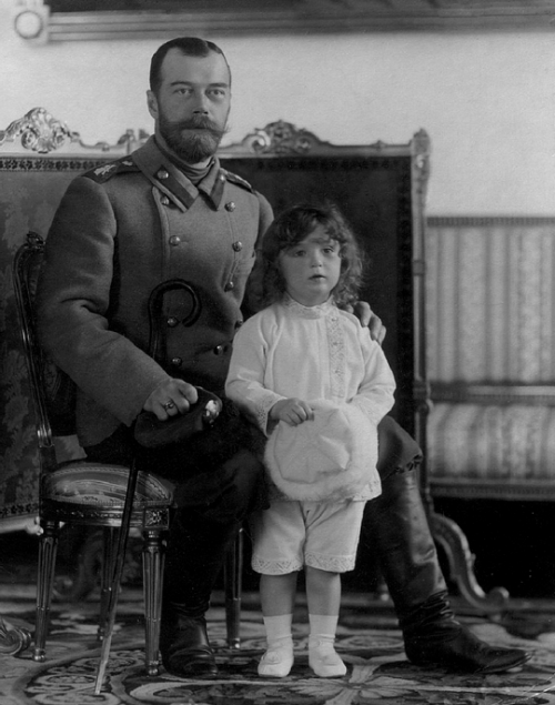 Tsarivech Alexei with his father Tsar Nicholas II